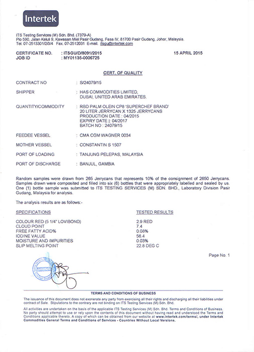 Certificate of Quality by InterTek Malaysia